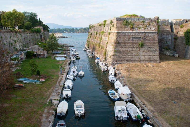 Gammal fästning av den CorfuOld fästningen av Korfu arkivfoton