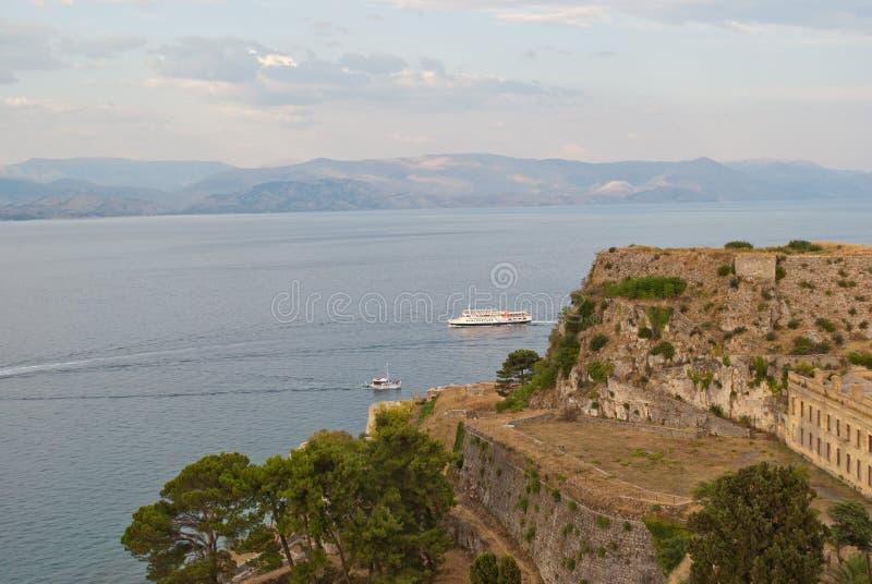 Gammal fästning av Korfu arkivbilder