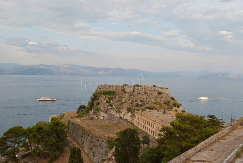 Gammal fästning av Korfu arkivbild