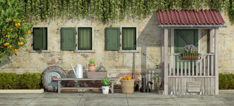 Gammal fasad med att arbeta i trädgården hjälpmedel royaltyfri illustrationer