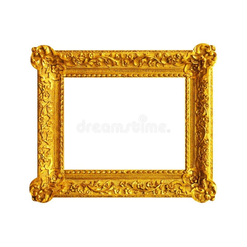 Gammal figurerad träram som isoleras på vit royaltyfri foto