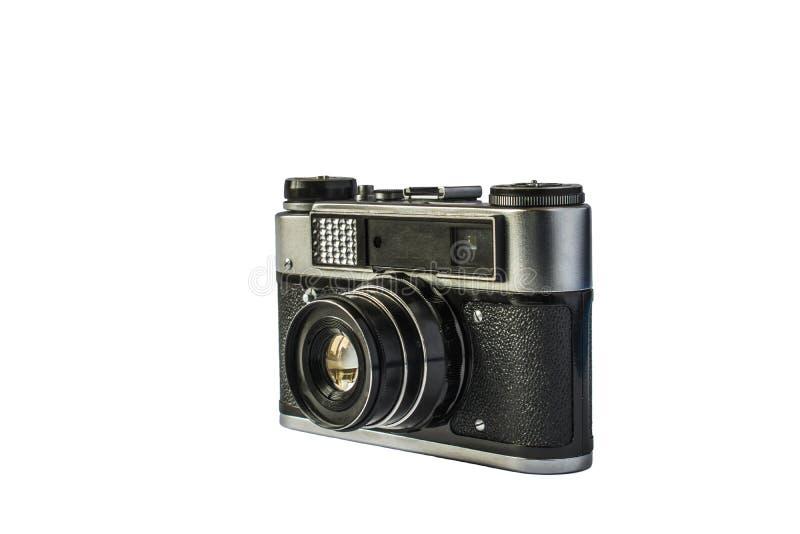 Gammal filmkamera som isoleras på vit bakgrund royaltyfri fotografi