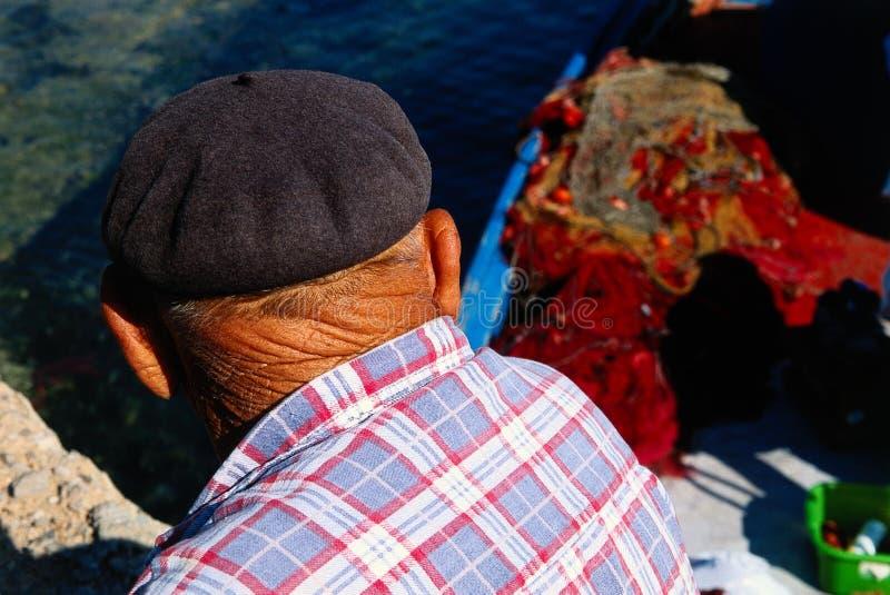 gammal fiskare royaltyfri foto