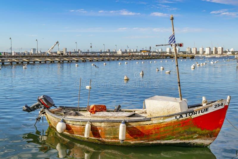 Gammal fiskebåt, Punta del Este port, Uruguay arkivbilder