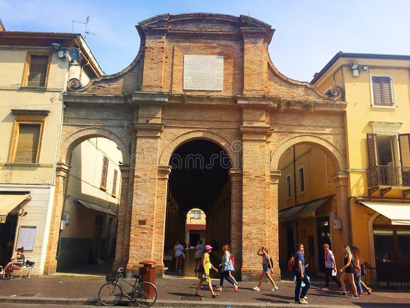 Gammal fiskmarknad i den forntida staden av Rimini Emilia-Romagna Italien royaltyfri bild