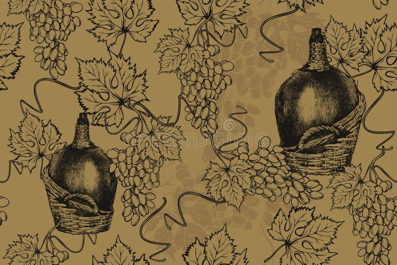 Gammal flaska av vin med druvor, sömlös modell handteckning, vektorillustration vektor illustrationer