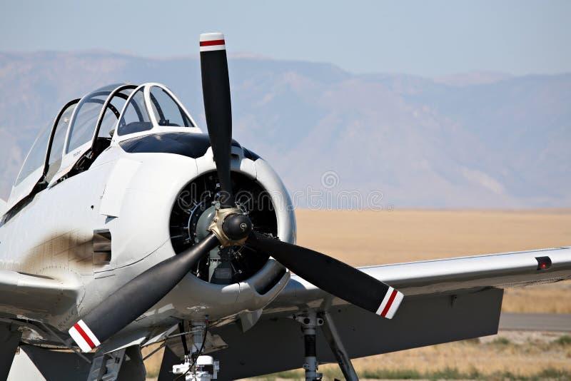 gammal flygplancloseupmilitär arkivfoto
