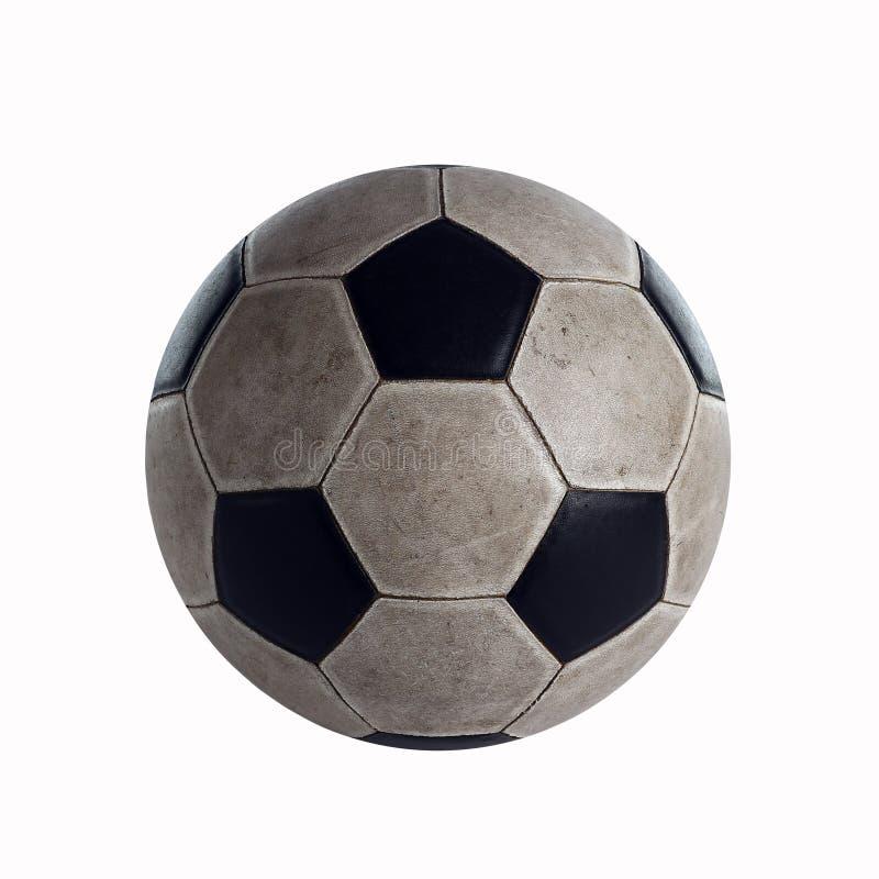 Gammal fotbollboll i studion fotografering för bildbyråer