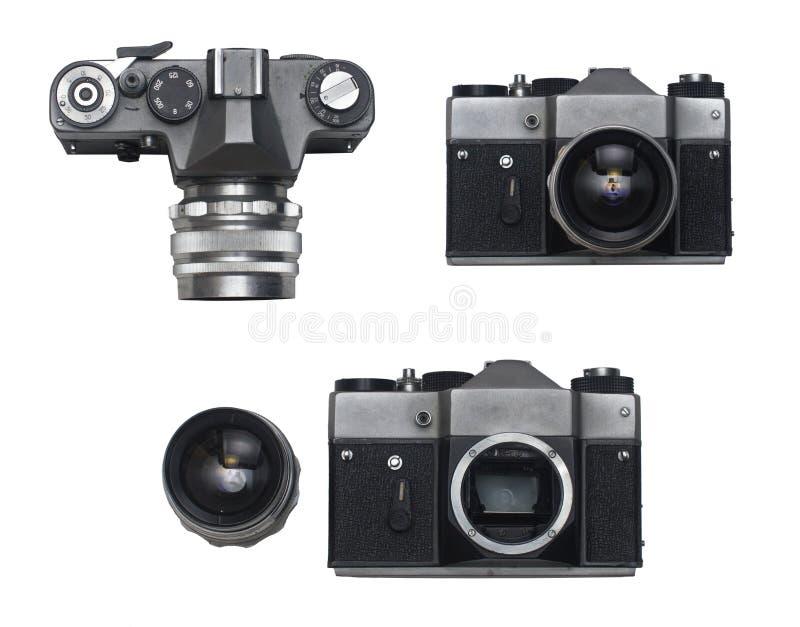 Gammal fotofilmkamera med linssiktsuppsättningen royaltyfria bilder