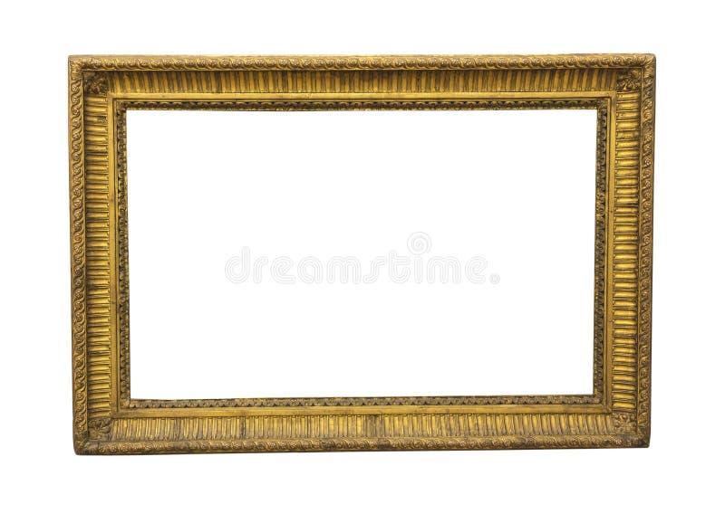 Gammal fyrkantig träbildram i guld- färg arkivfoto