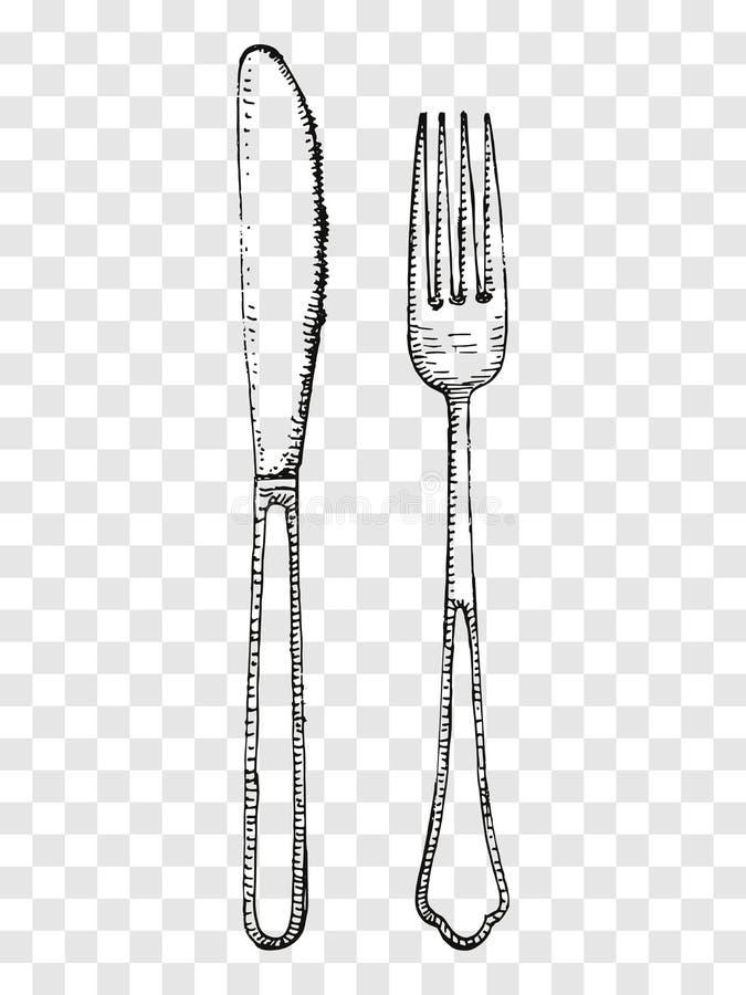 Gammal gaffel- och knivhandteckning Bestick på en genomskinlig bakgrund vektor illustrationer
