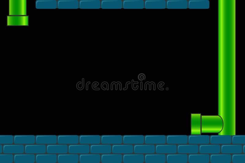 Gammal gallerivideospelbakgrund Retro mörk skärm för lek med tegelstenar och rör eller rör vektor vektor illustrationer