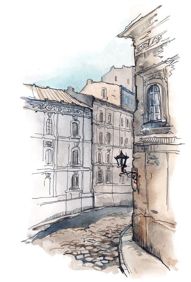 gammal gata stock illustrationer