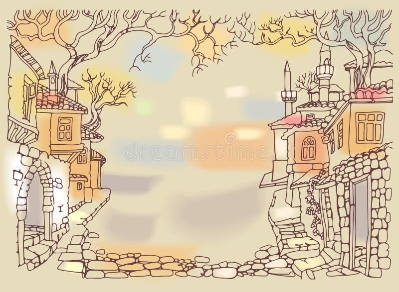 Gammal gata av den orientaliska staden Hand drog knapphändiga hus och träd stock illustrationer