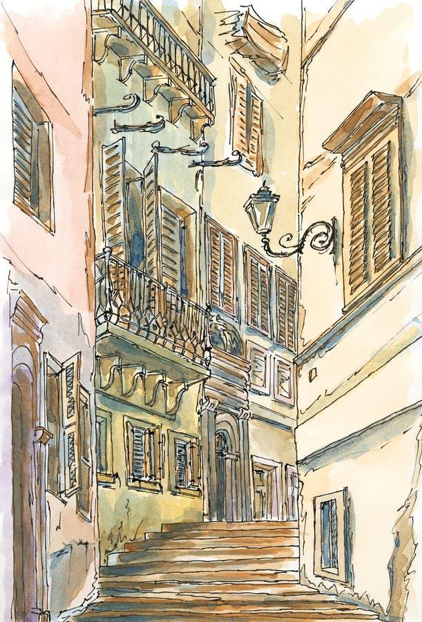 Gammal gata av rome royaltyfri illustrationer