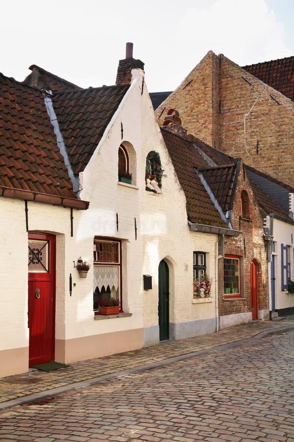 Gammal gata i Bruges flanders _ royaltyfri fotografi
