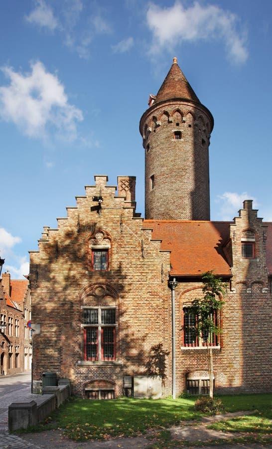 Gammal gata i Bruges flanders _ royaltyfri bild