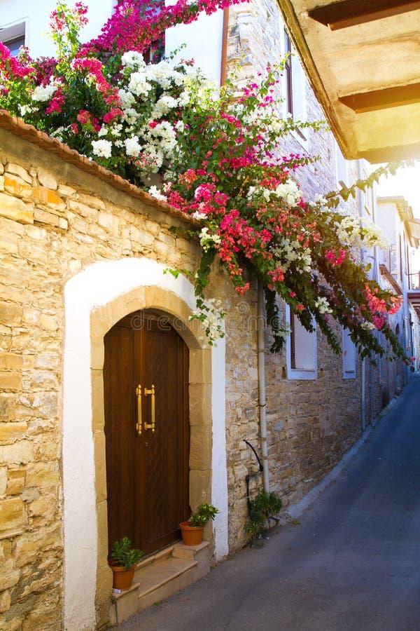 Gammal gata längs härliga stenhus som smyckas med färgade blommande träd i liten by i berg av Lefkara, Cypern arkivfoton