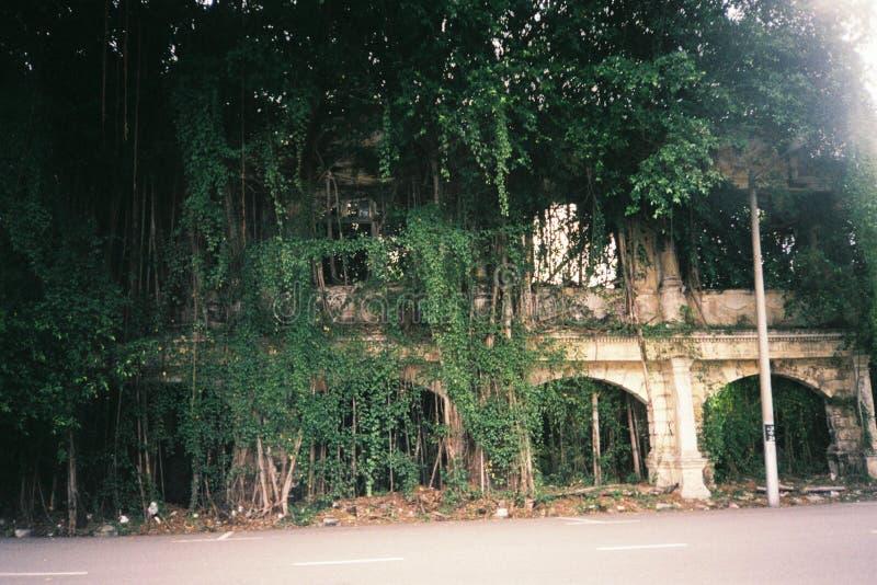 Gammal gata med gammal byggnad arkivbild