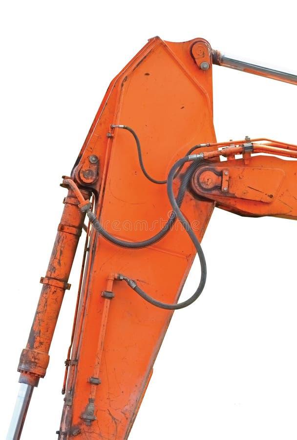 Gammal generisk grävskopa Dipper And Boom plus hinken Ram Vertical Closeup, isolerade detaljer för orange guling, BackhoeDozerhyd arkivfoto