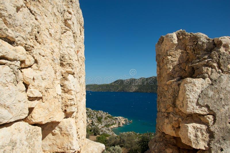 Gammal Genoese fästning i Turkiet royaltyfri bild