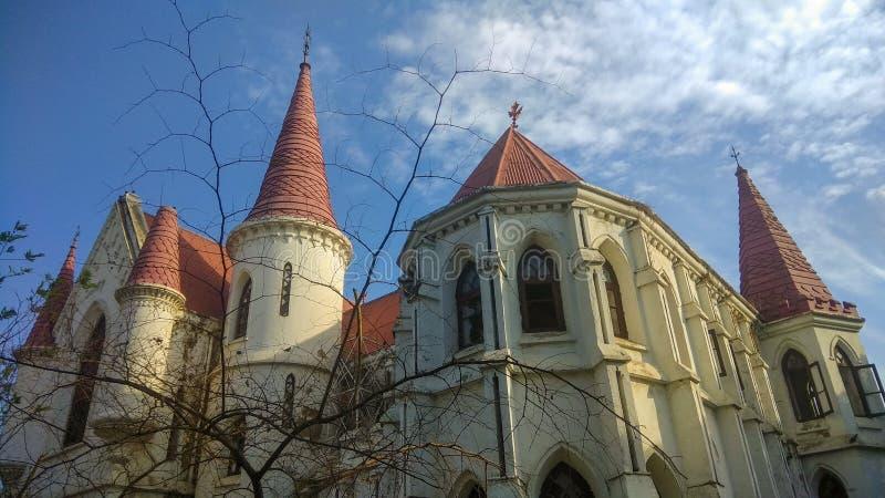 Gammal gotisk byggnad för kyrklig eller kolonial era i Indore arkivbilder