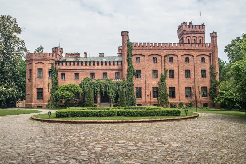 Gammal gotisk slott i Rzucewo fotografering för bildbyråer