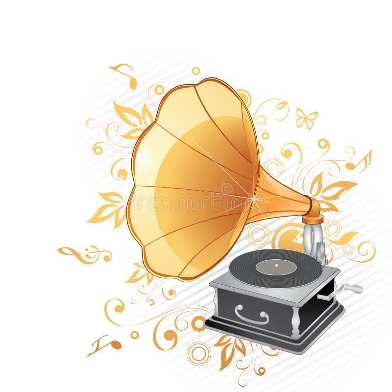 gammal grammofon stock illustrationer