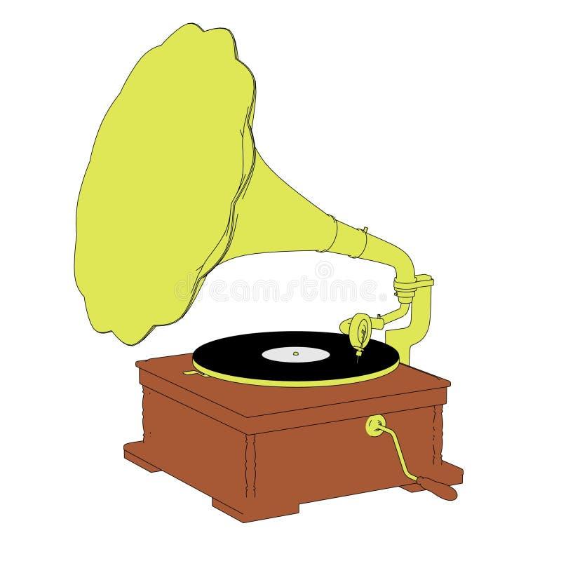 gammal grammofon vektor illustrationer