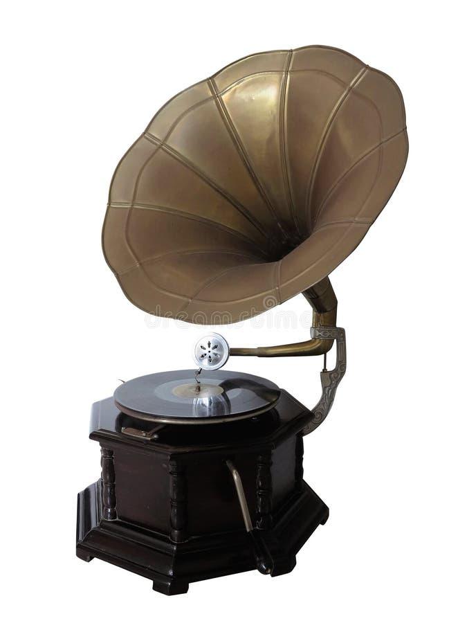 Gammal grammofonskivspelare för tappning som isoleras över vit royaltyfria bilder