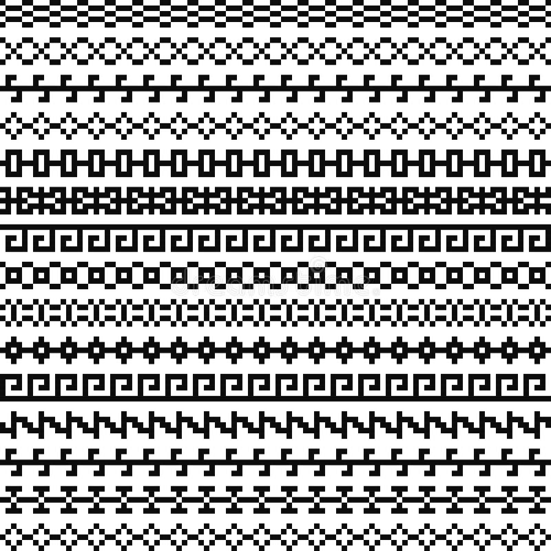 Gammal grekisk gräns, etnisk sömlös modell för stam- tappning, asiatiska gallerprydnader, kines, japan, koreansk vektoruppsättnin vektor illustrationer