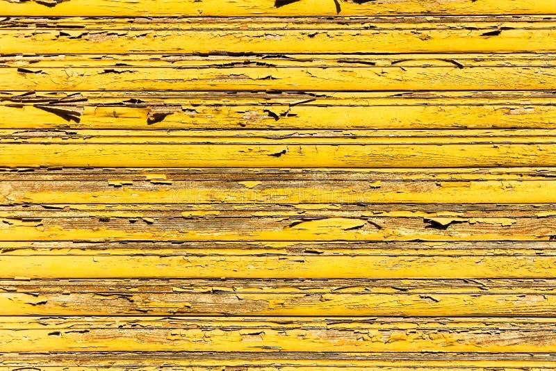 Gammal grunge och red ut gula träväggplankor texturerar bakgrund som markeras av lång exponering till beståndsdelarna royaltyfri fotografi