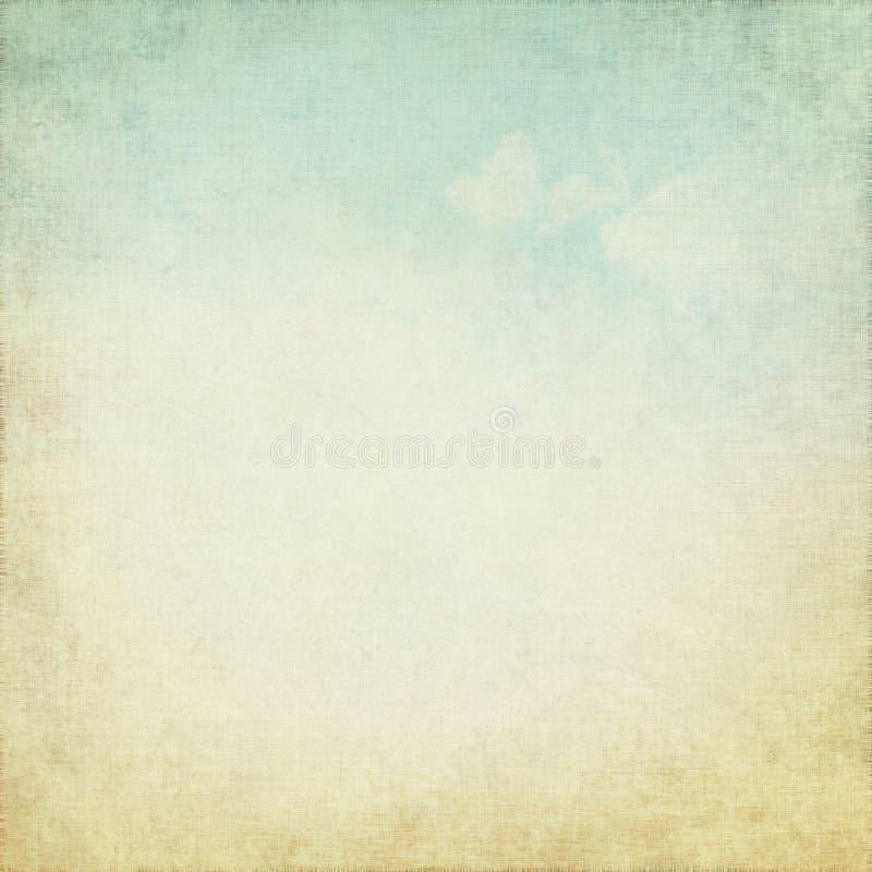 Gammal grungebakgrund med white för blå sky clouds vektor illustrationer
