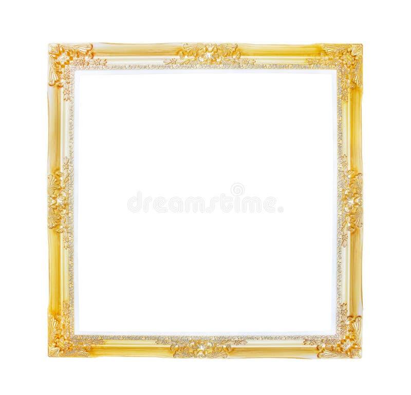 Gammal guld- bildram två lager som isoleras på vit bakgrund med urklippbanan arkivfoto