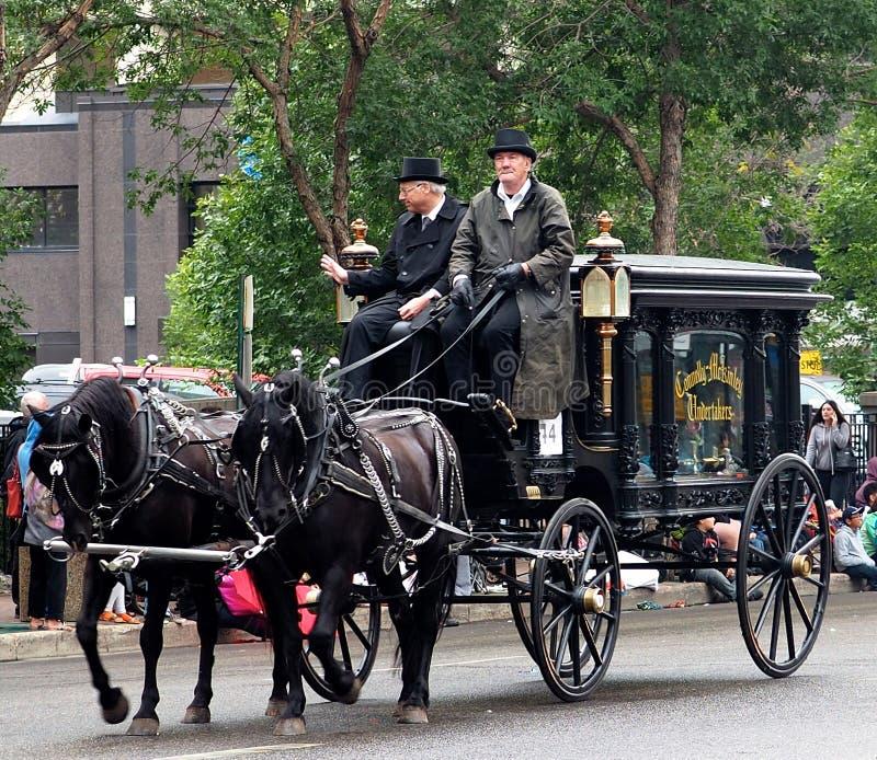 Gammal häst dragen begravnings- vagn arkivbild