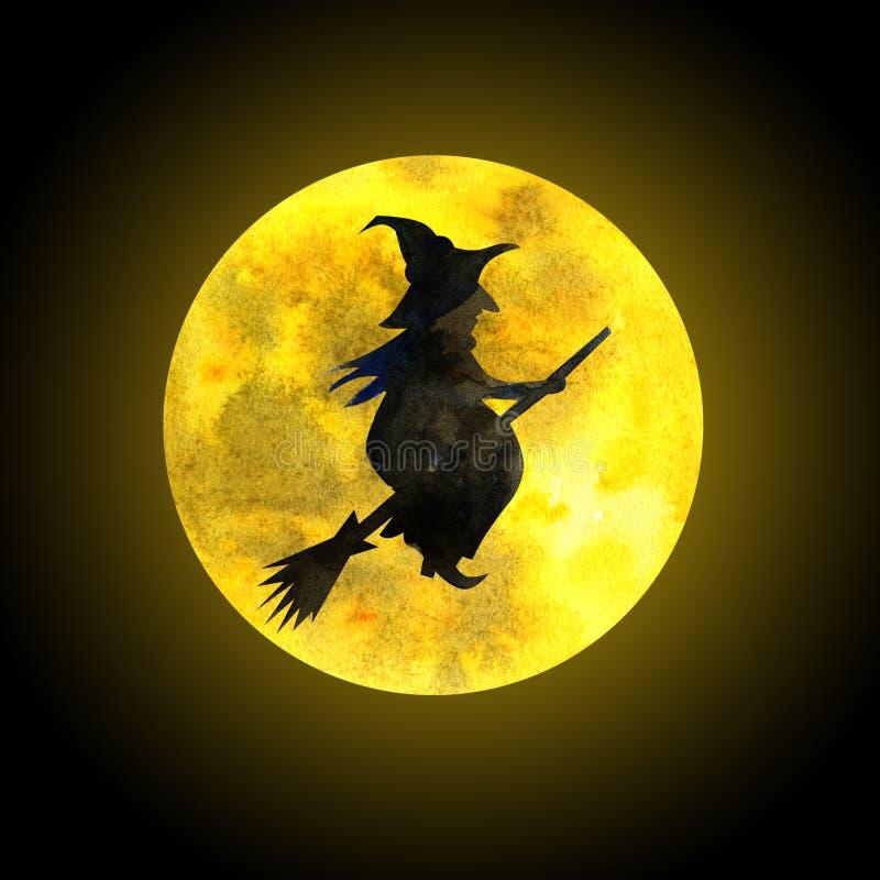 Gammal häxa på en kvastskaft och månen royaltyfri illustrationer