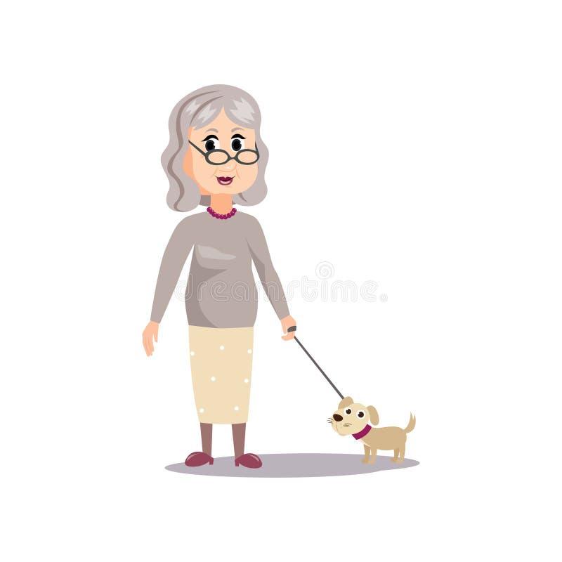 Gammal hög kvinna för gulligt mode med den lilla hunden stock illustrationer