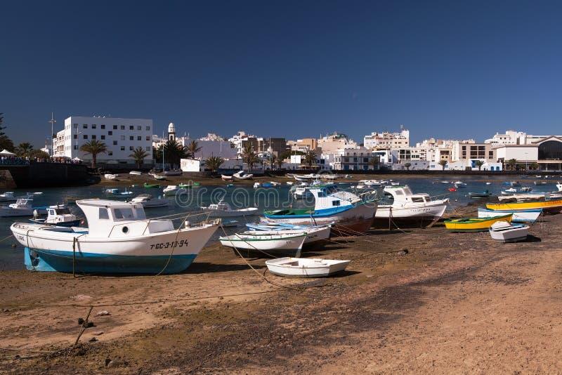 Gammal hamn, Arrecife, Lanzarote, kanariefågelöar arkivbilder