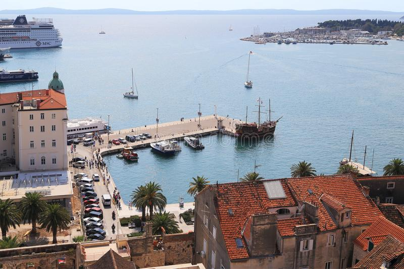 Gammal hamn av splittring, Kroatien arkivfoto