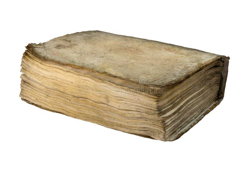 Gammal hardcoverbok som isoleras på vit bakgrund royaltyfri fotografi