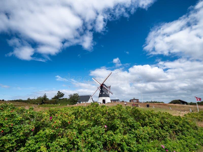 Gammal holländsk väderkvarn på ön Mandoe, Danmark för wadden hav royaltyfria bilder