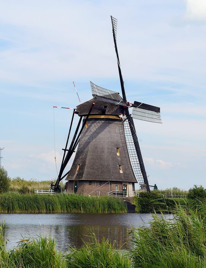 Gammal holländsk väderkvarn på kanalen royaltyfri foto