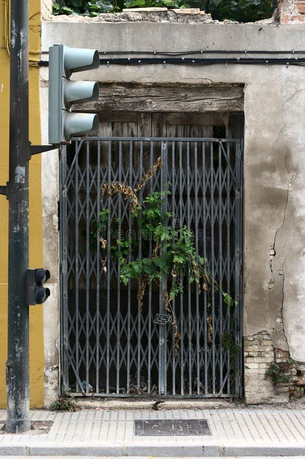 Gammal husportal med vegetation som kommer ut ur portarna royaltyfria foton