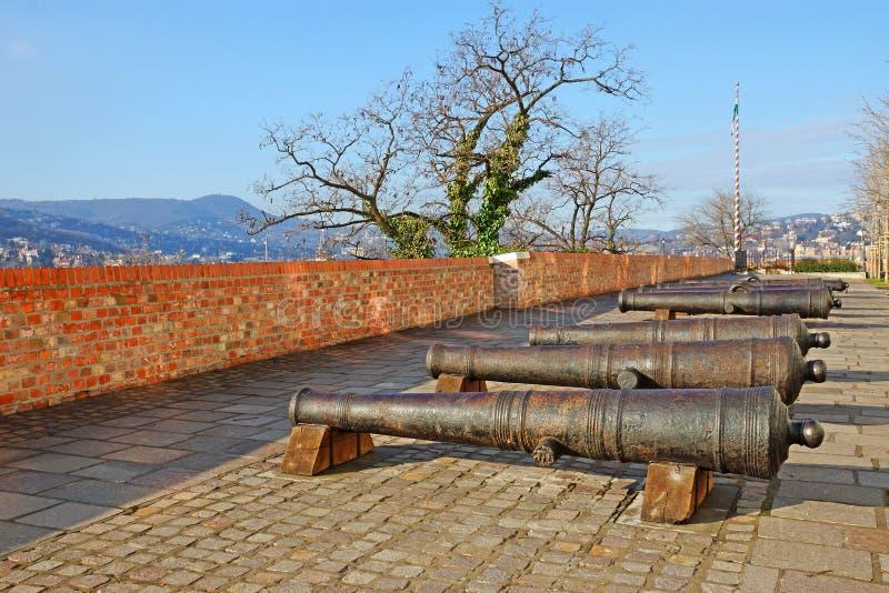 Gammal järnkanon på den Buda kullen i Budapest, Ungern royaltyfri foto