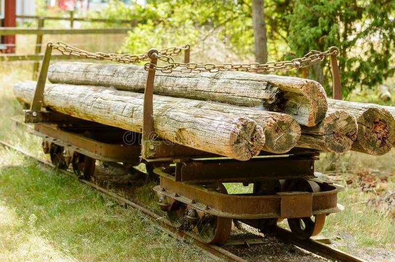 Gammal järnväg vagn med timmer arkivbild