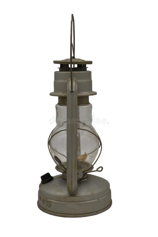 Gammal j?rnfotogenlampa Isolat p? en vit bakgrund royaltyfria bilder