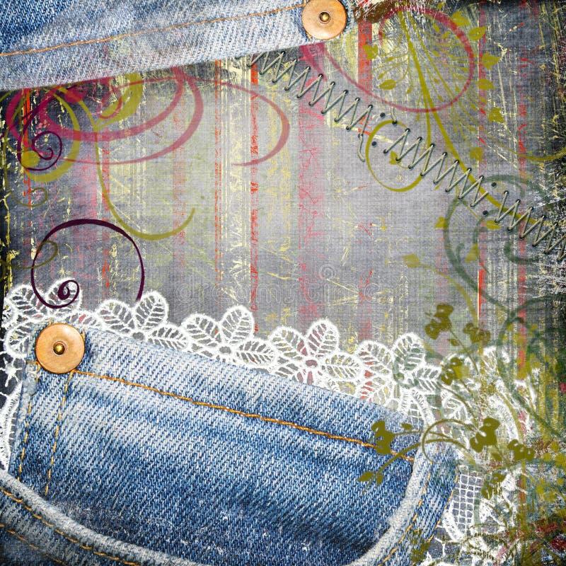 gammal jeans vektor illustrationer