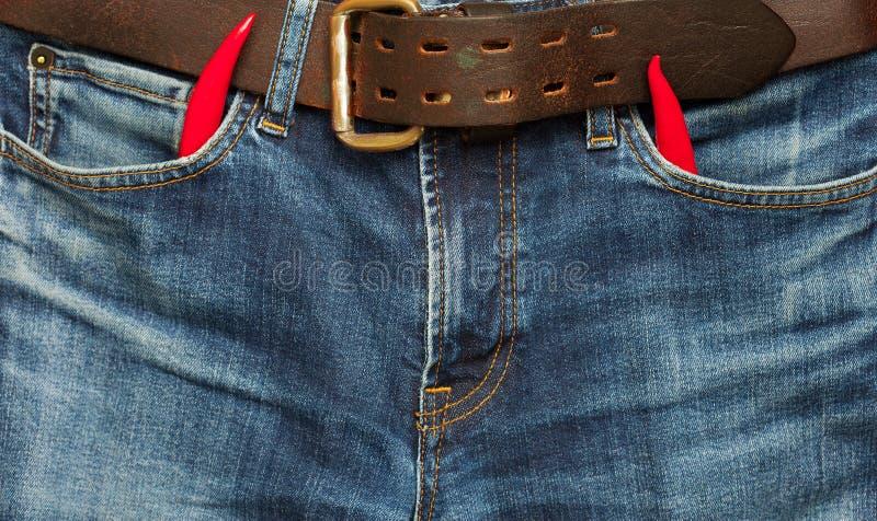 Gammal jeans med peppar för röd chili royaltyfria bilder