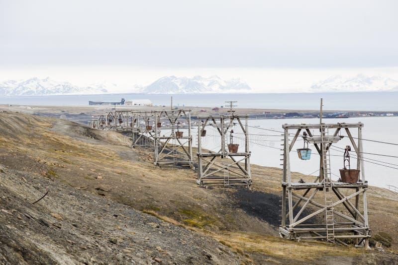 Gammal kabelbil för koltrans. i Longyearbyen arkivbilder