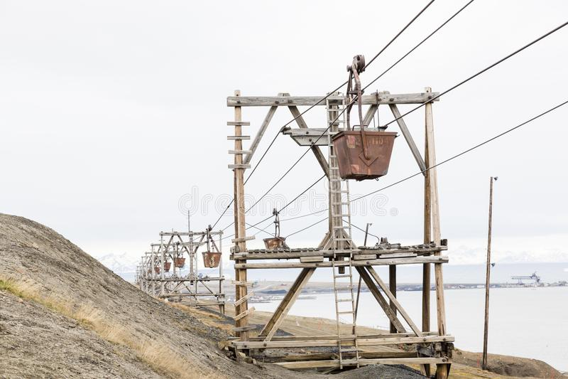 Gammal kabelbil för koltrans. i Longyearbyen arkivfoto
